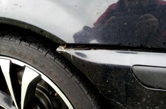 Unfallschaden am Radkasten